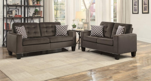 Lantana Sofa Set - Chocolate and Gray