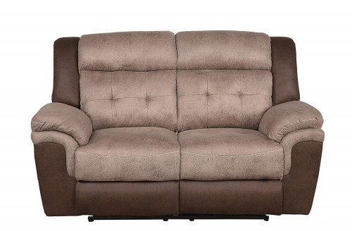 Chai Double Reclining Love Sea - Brown and dark brown polished microfiber
