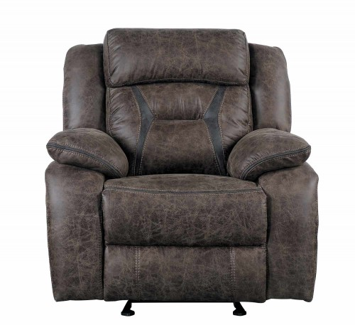 Homelegance Madrona Gilder Reclining Chair - Dark brown polished microfiber
