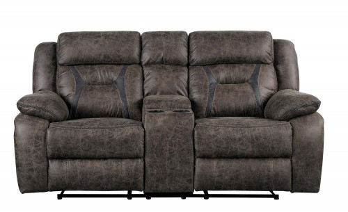 Homelegance Madrona Double Reclining Love Seat with Center Console - Dark brown polished microfiber