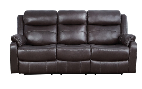 Homelegance Yerba Double Lay Flat Reclining Sofa With Center Drop-Down Cup Holders - Dark Brown