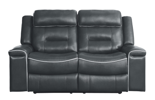 Darwan Double Lay Flat Reclining Love Seat - Dark Gray