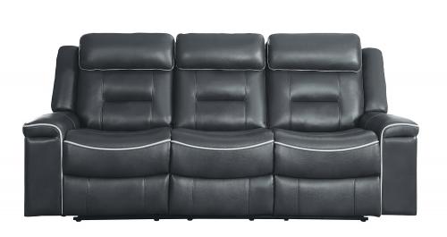 Homelegance Darwan Double Lay Flat Reclining Sofa - Dark Gray