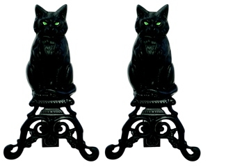 Black Cast Iron Cat Andirons With Reflective Glass Eyes-Uniflame