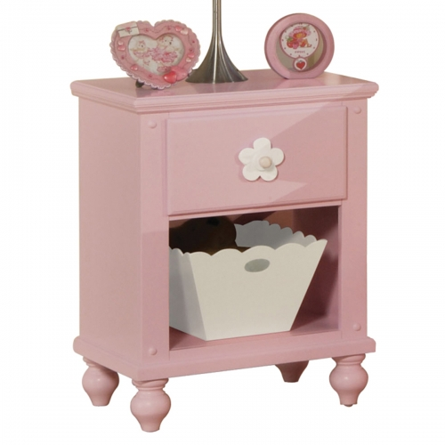 Floresville Nightstand with basket - Pink (White Flower)