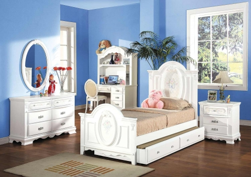Flora Panel Bedroom Set - White