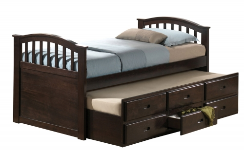 San Marino Captain Bed with Trundle - Dark Walnut