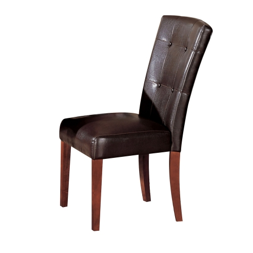 Bologna Side Chair - Espresso Vinyl/Brown Cherry