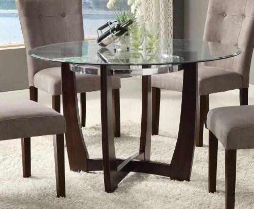 Baldwin Dining Table - Walnut/Clear Glass