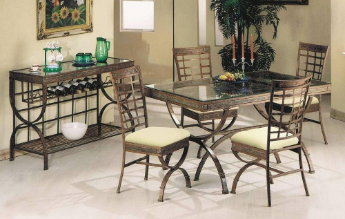 Egyptian Dining Set - Bronze Patina/Clear Glass
