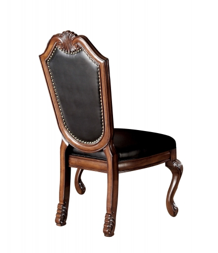 Acme Chateau De Ville Side Chair - Black Vinyl/Cherry