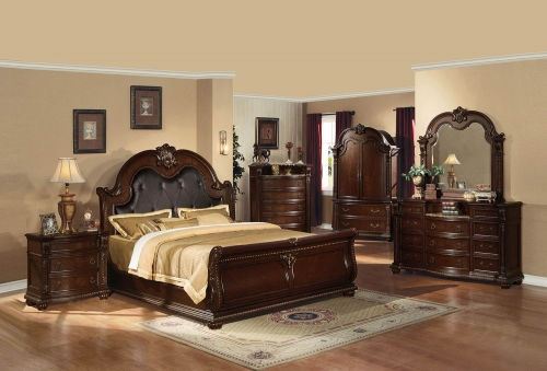 Anondale Bedroom Set - Espresso Vinyl/Cherry