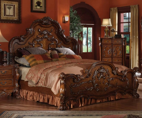Acme Dresden Bed (Wooden HB) - Cherry Oak