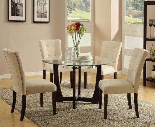 Baldwin Dining Set - Beige/Walnut