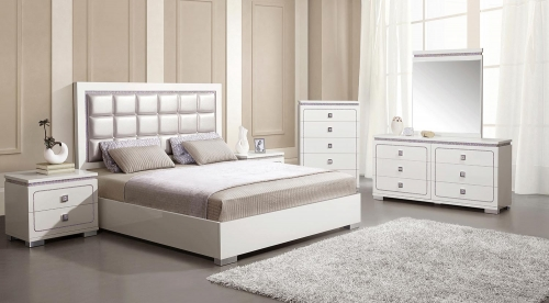 Valentina Bedroom Set - Pearl Vinyl/White High Gloss