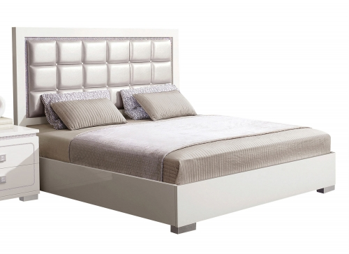 Valentina Bed - Pearl Vinyl/White High Gloss