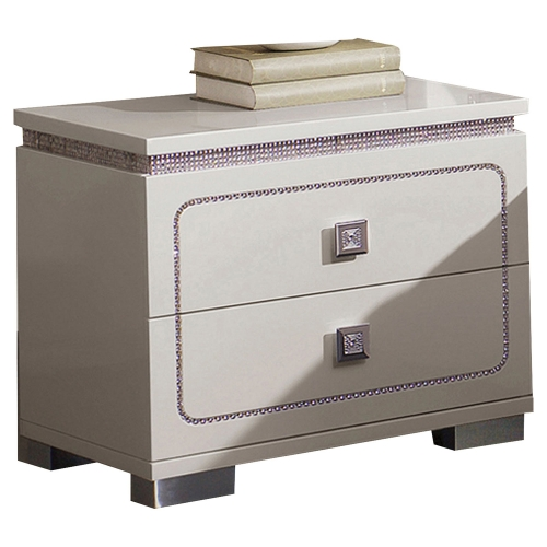 Valentina Nightstand - White High Gloss