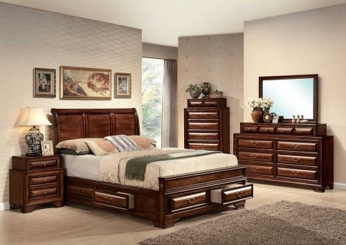Konane Bedroom Set with Storage - Brown Cherry