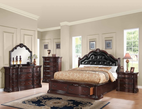 Veradisia Bedroom Set with Storage - Black Vinyl/Dark Cherry