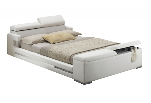 Layla Bed with Storage - White Vinyl