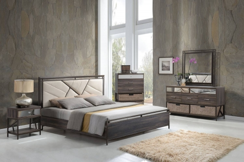 Adrianna Bedroom Set - Cream Cotton Fabric/Walnut