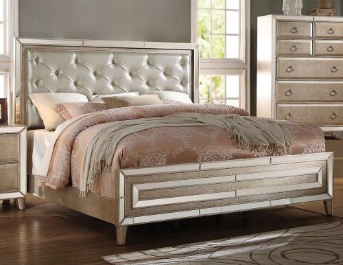 Voeville Bed - Matte Gold Vinyl/Antique Gold