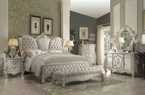 Versailles Bedroom Set - Ivory Velvet/Bone White