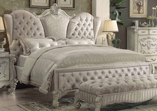 Versailles Bed - Ivory Velvet/Bone White