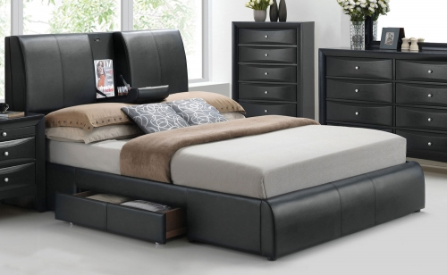 Kofi Bed with Storage - Black Vinyl