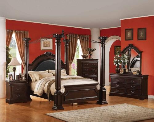 Roman Empire II Canopy Bedroom Set - Black Vinyl/Cherry