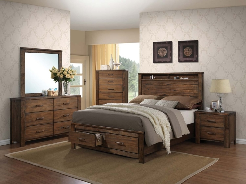 Merrilee Bedroom Set with Storage - Oak
