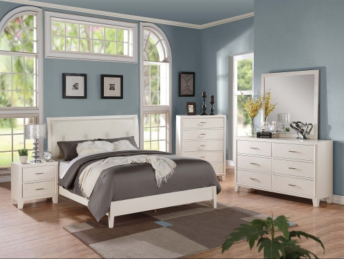 Tyler Bedroom Set (Padded HB) - Cream Vinyl/White