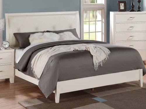 Tyler Bed (Padded HB) - Cream Vinyl/White