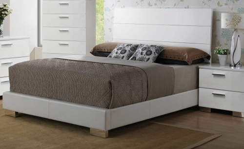 Lorimar Bed - White Vinyl/Chrome Leg