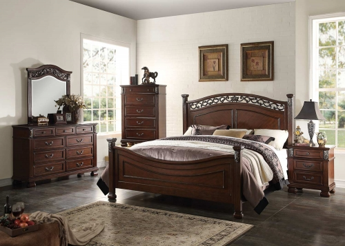Manfred Bedroom Set - Dark Walnut