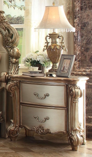 Acme Vendome Nightstand - Gold Patina/Bone