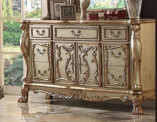 Dresden Dresser - Gold Patina/Bone