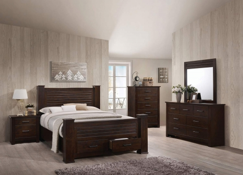 Panang Bedroom Set with Storage - Mahogany