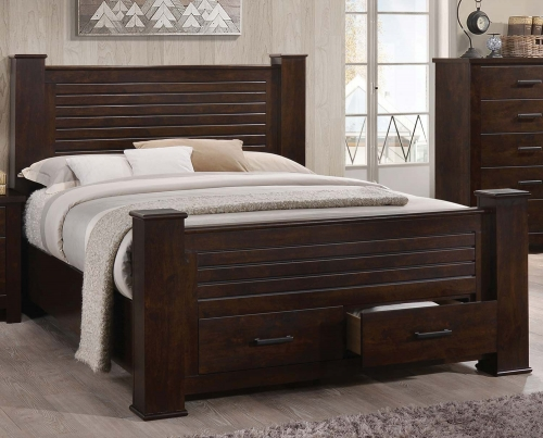 Panang Bed with Storage - Mahogany