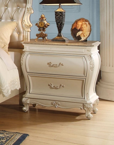 Chantelle Nightstand with Granite Top - Pearl White