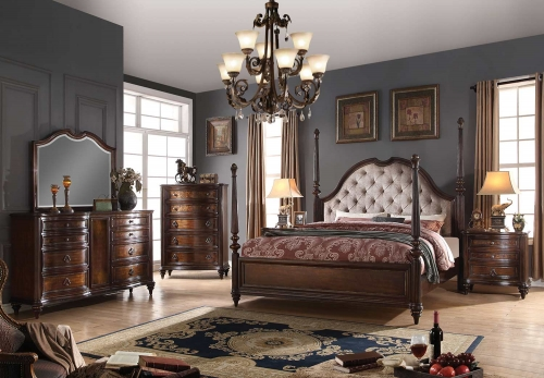 Azis Bedroom Set - Gray Fabric/Dark Walnut