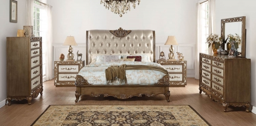 Orianne Bedroom Set - Champagne Vinyl/Antique Gold