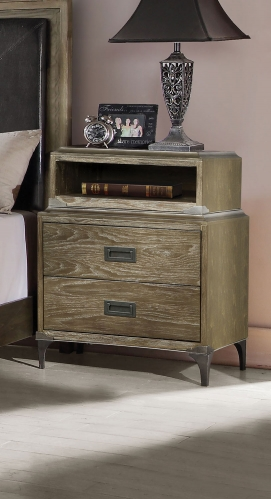 Athouman Nightstand with USB Charging Dock - Weathered Oak