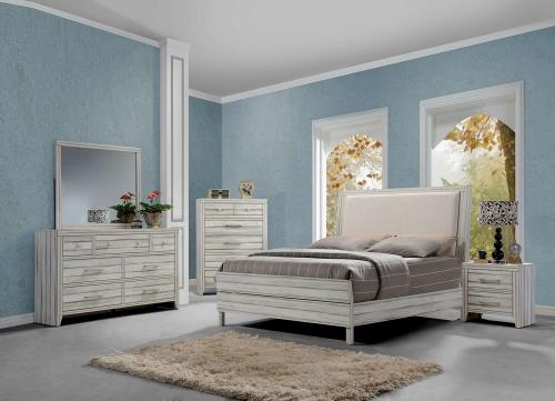 Shayla Bedroom Set - Fabric/Antique White