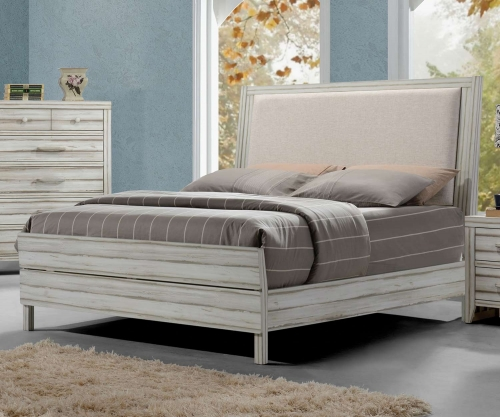Acme Shayla Bed (Padded HB) - Fabric/Antique White