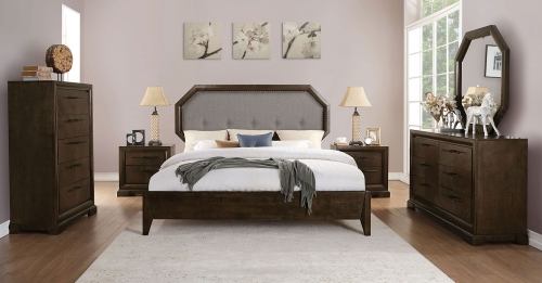 Selma Bedroom Set - Light Gray Fabric/Tobacco