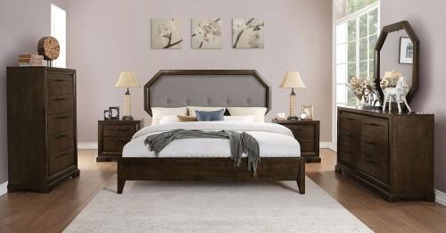 Acme Selma Bedroom Set - Light Gray Fabric/Tobacco