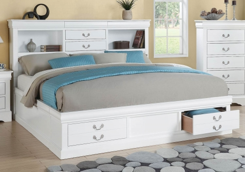 Louis Philippe III Bed with Storage - White