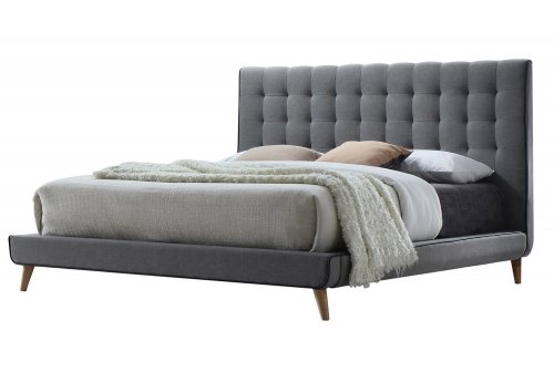 Valda Bed - Light Gray Fabric