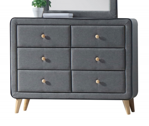 Valda Dresser - Light Gray Fabric